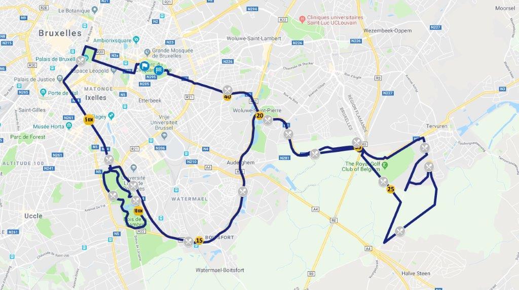 Parcours du marathon de Bruxelles